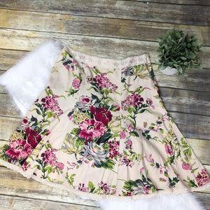 CAbi Women's Floral Boho Lace Trim Skirt Size 10